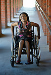 Hope Ranganayi suffered a spinal injury in an automobile accident, and today uses a wheelchair to get around the National Rehabilitation Centre in Ruwa, Zimbabwe, where she studies purchasing and supply management. Ranganayi's wheelchair, which was carefully fitted to her individual needs, was provided by the Jairos Jiri Association with support from CBM-US.