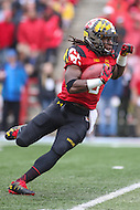 College Park, MD - October 1, 2016: Maryland Terrapins running back Trey Edmunds (9) runs the ball during game between Purdue and Maryland at  Capital One Field at Maryland Stadium in College Park, MD.  (Photo by Elliott Brown/Media Images International)