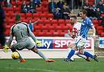 St Johnstone v Ross County...11.08.15...SPFL..McDiarmid Park, Perth.<br /> Craig Curran scores fro Ross County<br /> Picture by Graeme Hart.<br /> Copyright Perthshire Picture Agency<br /> Tel: 01738 623350  Mobile: 07990 594431