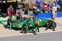 Apr 25, 2009; Talladega, AL, USA; NASCAR Nationwide Series driver Morgan Shepherd pits during the Aarons 312 at the Talladega Superspeedway. Mandatory Credit: Mark J. Rebilas-