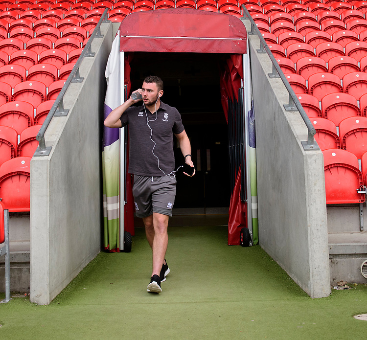 Lincoln City's Grant Smith arrives at the ground prior to the game<br /> <br /> Photographer Chris Vaughan/CameraSport<br /> <br /> EFL Leasing.com Trophy - Northern Section - Group H - Doncaster Rovers v Lincoln City - Tuesday 3rd September 2019 - Keepmoat Stadium - Doncaster<br />  <br /> World Copyright © 2018 CameraSport. All rights reserved. 43 Linden Ave. Countesthorpe. Leicester. England. LE8 5PG - Tel: +44 (0) 116 277 4147 - admin@camerasport.com - www.camerasport.com