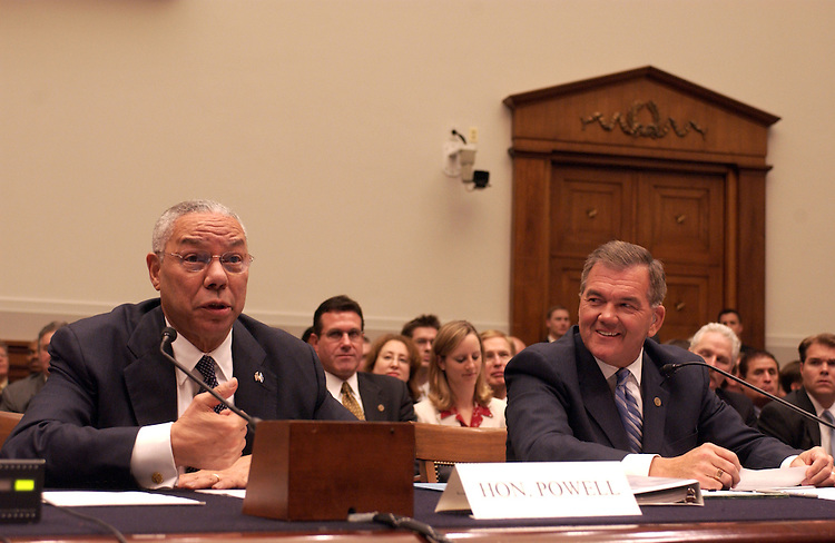 """Secretary of State Colin Powell and Homeland Security Secretary Tom Ridge during the House Judiciary Committee.Biometric Passport DeadlineFull committee oversight hearing, """"Should the Congress Extend the October, 2004 Statutory Deadline for Requiring Visitors to Present Biometric Passports?""""."""