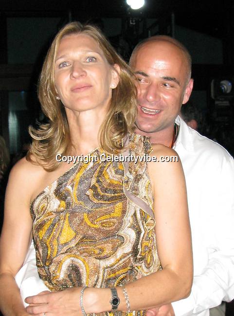 """**EXCLUSIVE**.Andre Agassi and wife Steffi Graf.""""A Night In The Hamptons"""" to benefit the Andre .Agassi Charitable Foundation..The Ross School.East Hampton, NY, USA.Saturday, August 16, 2008.Photo By Celebrityvibe.com.To license this image please call (212) 410 5354; or Email: celebrityvibe@gmail.com ;.website: www.celebrityvibe.com"""