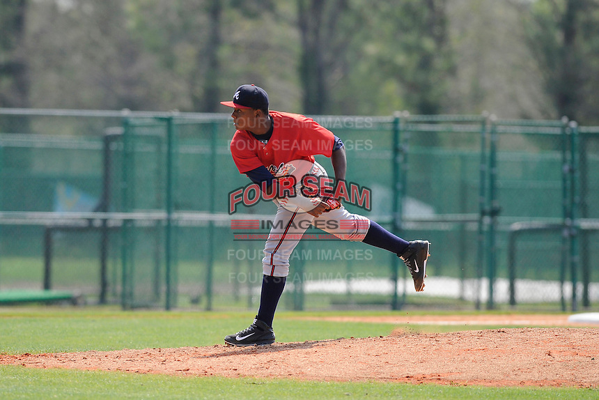 Pitcher Jordany Santana (17) of the Atlanta Braves farm system in a Minor League Spring Training intrasquad game on Wednesday, March 18, 2015, at the ESPN Wide World of Sports Complex in Lake Buena Vista, Florida. (Tom Priddy/Four Seam Images)