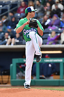 Peter Lambert (20) of the Hartford Yard Goats winds up to deliver a pitch during a game against the New Hampshire Fisher Cats at Dunkin Donuts Park on April 8, 2018 in Hartford, Connecticut.<br /> (Gregory Vasil/Four Seam Images)