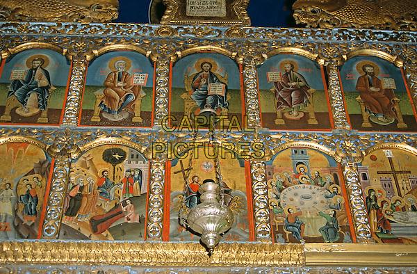 Saint Troica, Saint Trinity, Holy Trinity, Svete Trojice, Orthodox Church, Budva, Montenegro, Former Yugoslavia. Paintings and incense burner