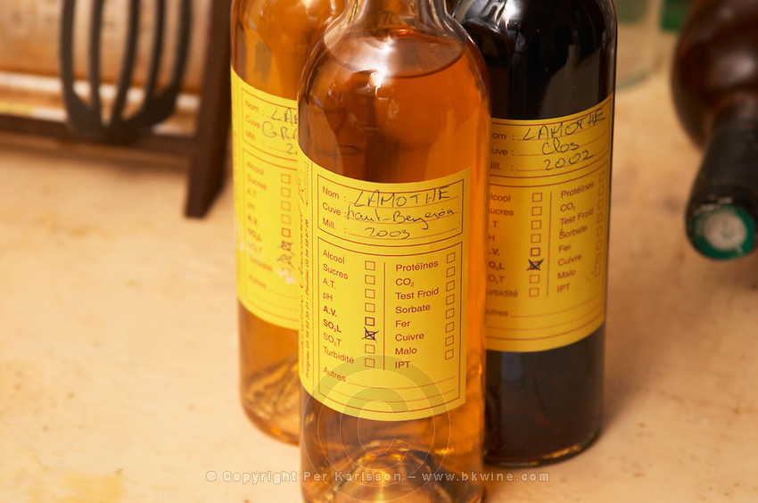 Samples of wines to be sent of to the control authorities INAO - Chateau Haut Bergeron, Sauternes, Bordeaux