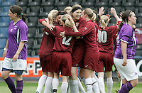 09 MAY 2007 - LONDON, UK - Saskia Philip  (third left) celebrates scoring Loughboroughs third goal - Loughborough University (Maroon) v Brighton University (Purple) - BUSA Womens Football Championships. (PHOTO (C) NIGEL FARROW)