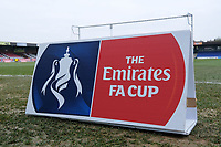 FA Cup signage ahead of  AFC Wimbledon vs Millwall, Emirates FA Cup Football at the Cherry Red Records Stadium on 16th February 2019