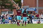 29.07.2017, Heinz-Dettmer-Stadion, Lohne, GER, FSP, SV Werder Bremen vs West Ham United<br /> <br /> im Bild<br /> Tony Martinez (West Ham #29) bejubelt seinen Treffer zum 1:2 / Tony Martinez (West Ham #29) celebrates after scoring with teammates, <br /> Andr&eacute; / Andre Ayew (West Ham #20), <br /> <br /> Foto &copy; nordphoto / Ewert