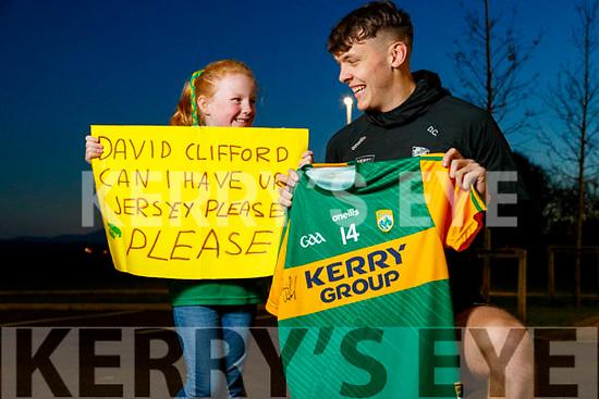 David Clifford gives Holly Mulvihill from Tarbert his Gaelic Football jersey.