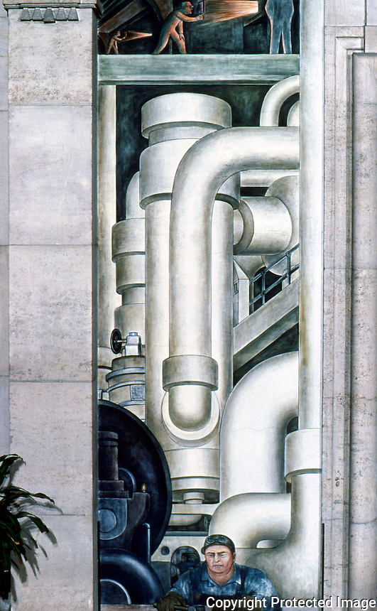 Detroit:  Detroit Industry--West Wall.  Steam engine panel.  Diego  M. Rivera, 1932-33.  Reference only.