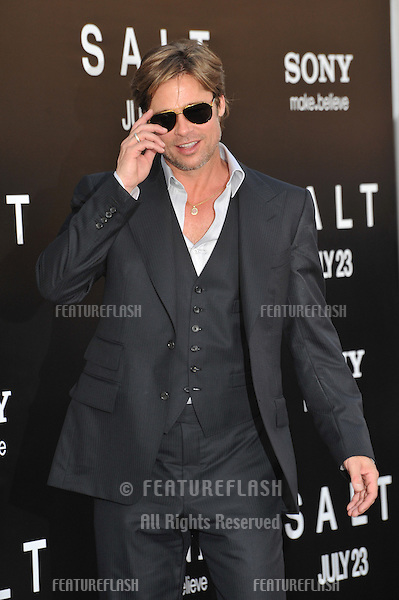 "Brad Pitt at the premiere of ""Salt"" at Grauman's Chinese Theatre, Hollywood..July 19, 2010  Los Angeles, CA.Picture: Paul Smith / Featureflash"