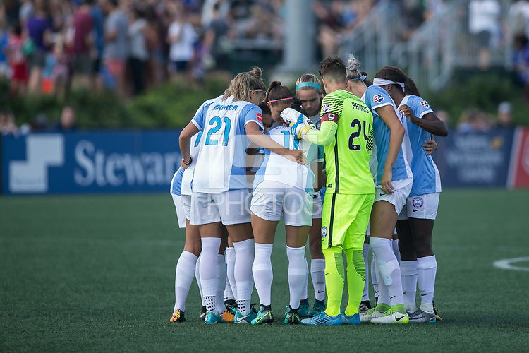 Allston, MA - Saturday August 19, 2017: Orlando Pride starting eleven huddle during a regular season National Women's Soccer League (NWSL) match between the Boston Breakers and the Orlando Pride at Jordan Field.