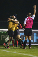 Alun WALKER of Ealing Trailfinders (left) celebrates after he sores a try during the Championship Cup match between London Scottish Football Club and Ealing Trailfinders at Richmond Athletic Ground, Richmond, United Kingdom on 23 November 2018. Photo by David Horn/PRiME Media Images