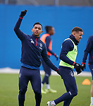 19.12.2019 Rangers training: Alfredo Morelos with his imaginary red card