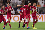 Boualem Khoukhi of Qatar (R2) celebrating his score with his teammates during the AFC Asian Cup UAE 2019 Semi Finals match between Qatar (QAT) and United Arab Emirates (UAE) at Mohammed Bin Zaied Stadium  on 29 January 2019 in Abu Dhabi, United Arab Emirates. Photo by Marcio Rodrigo Machado / Power Sport Images