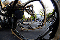 Yokohama, April 19, 2009. The huge mechanical spiders of French performance artists, 'La Machine', take to the streets of Yokohama as part of the city's five months of celebrations to mark its 150th Anniversary. (Photo Alfie Goodrich/Nippon News).