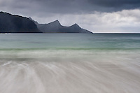 Incoming wave on Haukland Beach, Vestvagoy, Lofoten Islands, Norway