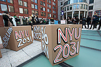 New York University students and their supporters protest on Tuesday, Febraury 21, 2012 at NYU over the university's plans to allegedly use student debt to fund the $6 billion 2031 expansion plans.  The average NYU student is $35,000 in debt upon graduation, $11,000 higher than the national average according to a recent survey. (© Richard B. Levine)