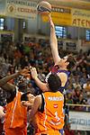 Baloncesto Fuelabrada's Mouhamed Saer Sene (l), Sergio Sanchez (c) and Leo Mainoldi (r) and FC Barcelona Regal's Erazem Lorbek (t) during Liga Endesa ACB match.October 30,2011. (ALTERPHOTOS/Acero)