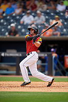 Toledo Mud Hens Pete Kozma (24) at bat during an International League game against the Durham Bulls on July 16, 2019 at Fifth Third Field in Toledo, Ohio.  Durham defeated Toledo 7-1.  (Mike Janes/Four Seam Images)