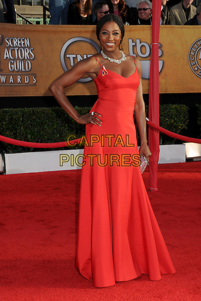RUTINA WESLEY.16th Annual Screen Actors Guild Awards - Arrivals held at The Shrine Auditorium, Los Angeles, California, USA..January 23rd, 2009.SAG SAGs full length maxi dress red pink dress diamond necklace hand on hip.CAP/ADM/BP.©Byron Purvis/Admedia/Capital Pictures