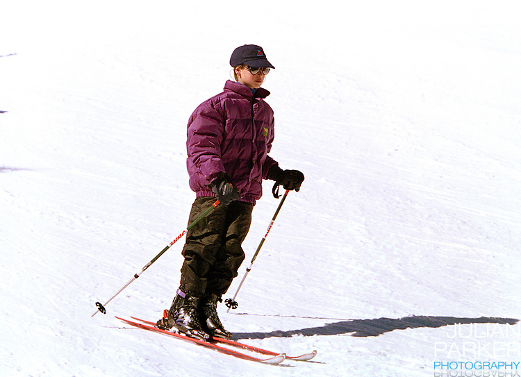 Prince William sking in Lech, Austria, on an annual ski holiday with his mother, The Princess of Wales, and brother, Prince Harry