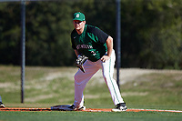Dartmouth Big Green first baseman Michael Calamari (3) holds a runner on during a game against the Northeastern Huskies on March 3, 2018 at North Charlotte Regional Park in Port Charlotte, Florida.  Northeastern defeated Dartmouth 10-8.  (Mike Janes/Four Seam Images)