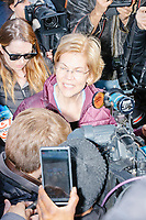 Democratic presidential candidate and Massachusetts senator Elizabeth Warren speaks to the media after a small rally with supporters outside Graham & Parks School after the candidate voted in the Massachusetts primary as part of Super Tuesday voting in Cambridge, Massachusetts, on Tue., March 3, 2020. The polling place is just a few blocks from Warren's residence. Polls show Warren and Vermont senator Bernie Sanders in a near tie in the Massachusetts Democratic party primary.