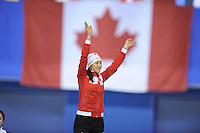 SPEEDSKATING: CALGARY: 15-11-2015, Olympic Oval, ISU World Cup, Podium 500m Ladies, winner Hong Zhang (CHN), ©foto Martin de Jong