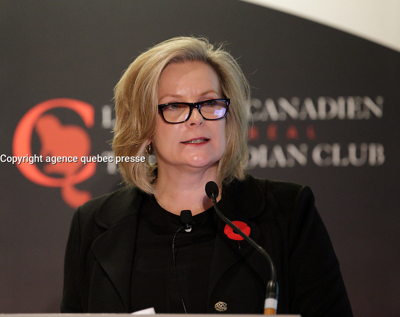 Sandra Stuart<br /> , HSBC Bank Canada<br /> <br /> delivers a speech to the Canadian Club of Montreal, October 31 ,2016.<br /> <br /> Photo : <br /> agence quebec presse