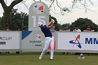 Paul Casey (Europe) on the 15th tee during the Singles Matches of the Eurasia Cup at Glenmarie Golf and Country Club on the Sunday 14th January 2018.<br /> Picture:  Thos Caffrey / www.golffile.ie