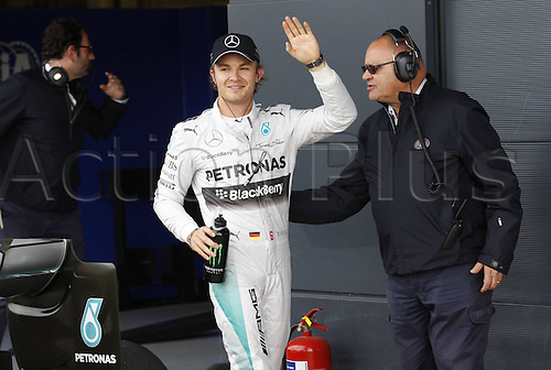 05.07.2014. Silversone, Northants, England. British F1 Grand Prix, Qualifying session.  Motorsports: FIA Formula One World Championship 2014, Grand Prix of Great Britain, 6 Nico Rosberg (GER, Mercedes AMG Petronas F1 Team) celebrates pole