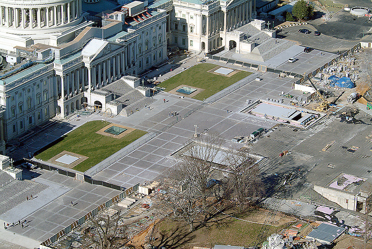 East Front Plaza of the U.S. Capitol showing the construction on the Visitors Center.