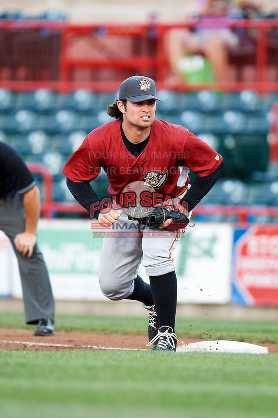 Altoona Curve first baseman Jeremy Farrell #14 during an Eastern League game against the Erie Seawolves at Jerry Uht Park on August 31, 2012 in Erie, Pennsylvania.  Altoona defeated Erie 4-3.  (Mike Janes/Four Seam Images)