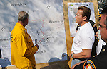 Governor Arnold Schwarzenegger holds a press conference on the Station fire and the status of firefighting efforts statewide at the Station Fire Incident Command Post at Hansen Dam. Schwarzenegger urged residents in fire evacuation zones to flee as firefighters expect another difficult day battling the Station wildfire that has burned over 35,000 acres and threatened more than 10,000 homes from La Canada Flintridge to Acton California August 30, 2009..