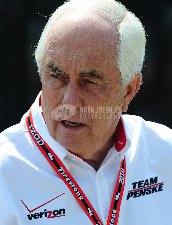 May 30, 2010; Indianapolis, IN, USA; IndyCar Series team owner Roger Penske during the Indianapolis 500 at the Indianapolis Motor Speedway. Mandatory Credit: Mark J. Rebilas-