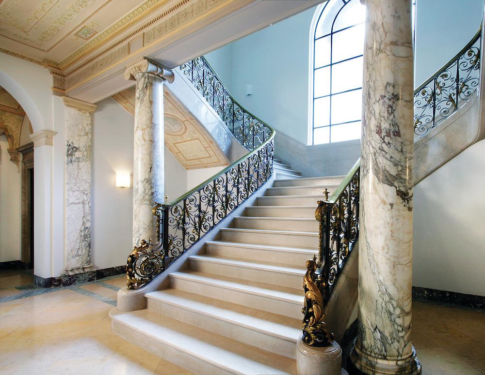 marble stairway in NJ residence