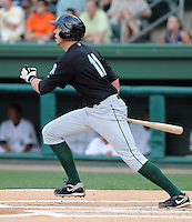 Kyle Skipworth of the Greensboro Grasshoppers hits a home run in the first inning at the 2010 South Atlantic League All-Star Game on Tuesday, June 22, 2010, at Fluor Field at the West End in Greenville, S.C. Photo by: Tom Priddy/Four Seam Images
