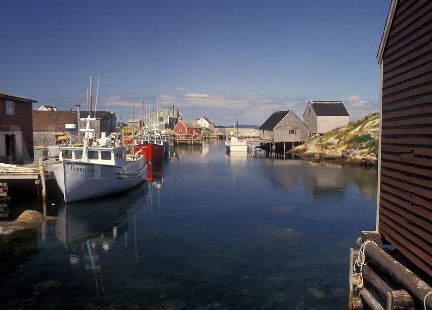 fishing village, Peggy's Cove, fishing boats, Nova Scotia, NS, Canada, Atlantic Ocean, Scenic view of the fishing village of Peggy's Cove in Nova Scotia.