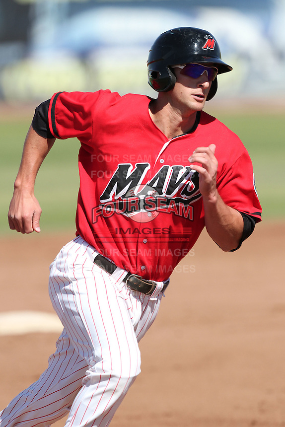 Vinnie Catricala #23 of the High Desert Mavericks runs the bases against the Lancaster JetHawks at Mavericks Stadium in Adelanto,California on May 30, 2011. Photo by Larry Goren/Four Seam Images