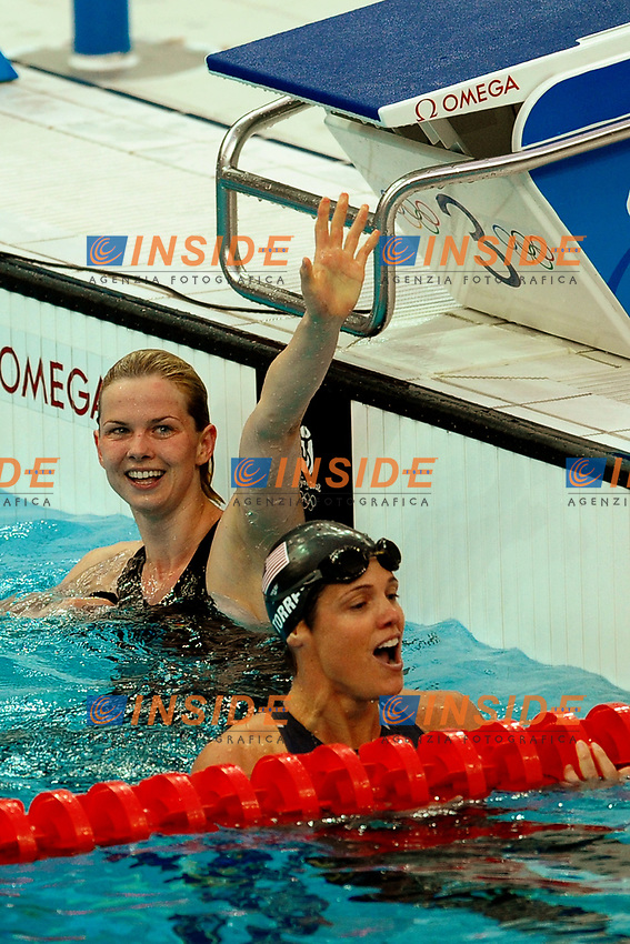 Britta Steffen Germany, Women's 50m Freestyle Gold Medal (L), Dara Torres, United States, Silver Medal (R)<br /> National Aquatics Centre<br /> Pechino - Beijing 17/8/2008 Olimpiadi 2008 Olympic Games<br /> Foto Andrea Staccioli Insidefoto