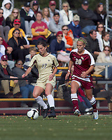 Boston College forward Alaina Beyar (17) controls the ball as Florida State midfielder/forward Janice Cayman (20) closes. Florida State University defeated Boston College, 1-0, at Newton Soccer Field, Newton, MA on October 31, 2010.