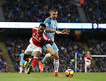 Adama Traore of Middlesbrough tussles with Aleksander Kolarov of Manchester City during the Premier League match at the Etihad Stadium, Manchester. Picture date: November 5th, 2016. Pic Simon Bellis/Sportimage