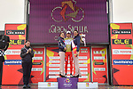 Manuel Belletti (ITA) Androni Giocattoli-Sidermec wins the points Maglia Arancione classification on the podium at the end of Stage 4 of Il Giro di Sicilia 2019 running 119km from Giardini Naxos to Mount Etna (Nicolosi), Italy. 6th April 2019.<br /> Picture: LaPresse/Massimo Paolone | Cyclefile<br /> <br /> All photos usage must carry mandatory copyright credit (&copy; Cyclefile | LaPresse/Massimo Paolone)