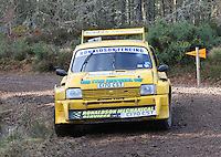 Steven Ronaldson - Ann Marie Fraser in an MG Metro 6R4 competing at Junction 6 on the Munro Scotch Beef Millbuie Special Stage 1 on the 2014 Arnold Clark/Thistle Hotel Snowman Rally, supported by Highland Office Equipment, part of Capital Document Solutions which was organised by Highland Car Club and based in Inverness on 22.2.14; Round 1 of the 2014 RAC MSA Scottish Rally Championship sponsored by ARR Craib Transport Limited.