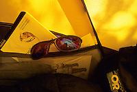 Detail of Guidebooks and maps in tent pocket, Utah