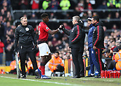 9th February 2019, Craven Cottage, London, England; EPL Premier League football, Fulham versus Manchester United; Manchester United Manager Ole Gunnar Solskjaer shakes hands with Paul Pogba of Manchester United while being subbed off