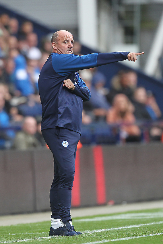 Wigan Athletic's Manager Paul Cook<br /> <br /> Photographer Mick Walker/CameraSport<br /> <br /> The EFL Sky Bet Championship - Preston North End v Wigan Athletic - Saturday 10th August 2019 - Deepdale Stadium - Preston<br /> <br /> World Copyright © 2019 CameraSport. All rights reserved. 43 Linden Ave. Countesthorpe. Leicester. England. LE8 5PG - Tel: +44 (0) 116 277 4147 - admin@camerasport.com - www.camerasport.com